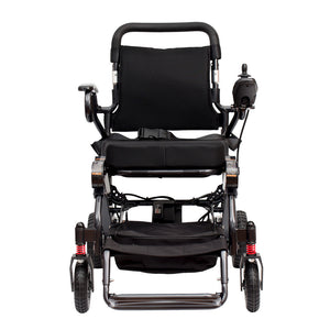 Compact & Foldable Electric-Powered Elite Wheelchair, Model N5513A with 2 batteries and Travel Bag included (Dark Gray)