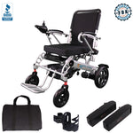Foldable Electric Power Wheelchair, Indoor and Outdoors, Capacity 330 lb, 2 batteries, EW21 Silver