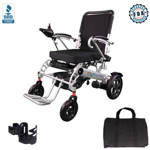 Foldable Electric Power Wheelchair, Indoor and Outdoors, Wide Seat, W5521 Silver