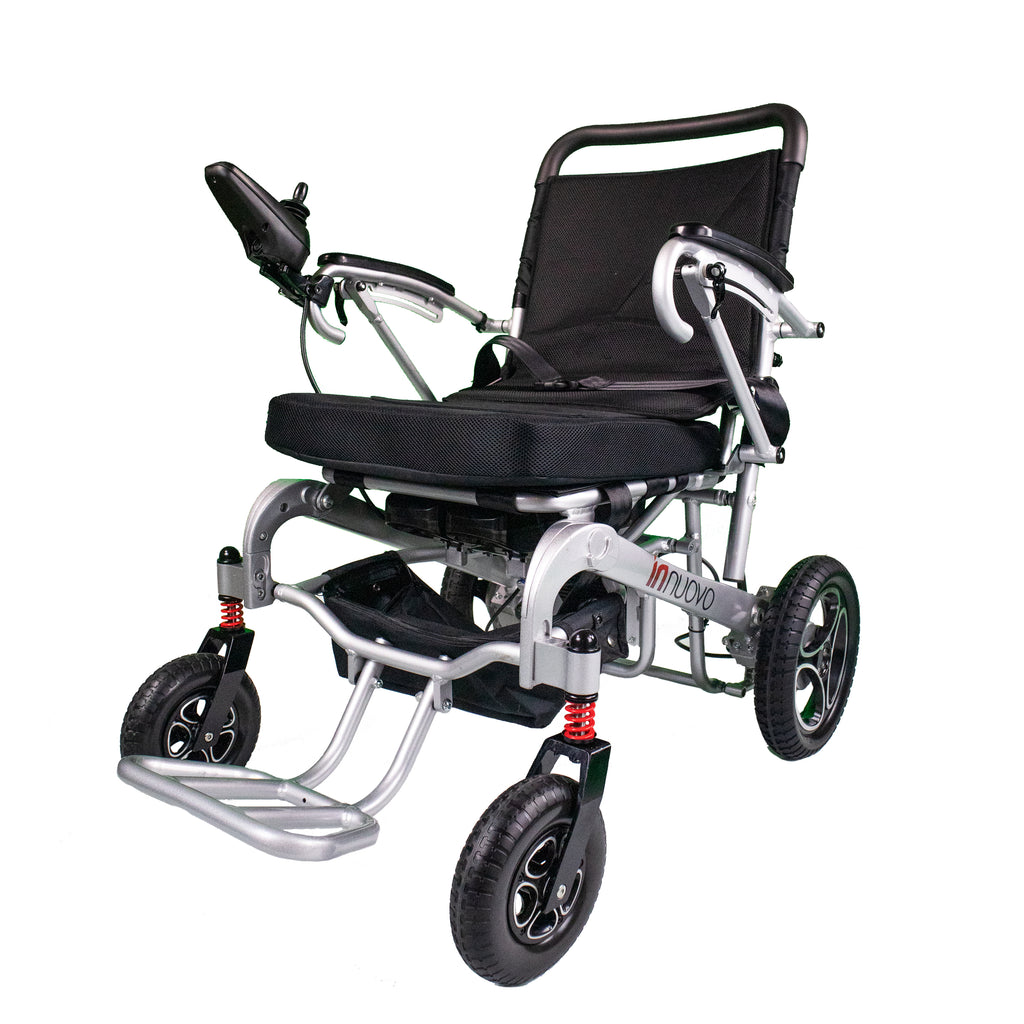 Electric Powered Wheelchair REFURBISHED W5517 Silver Model. Heavy Duty, Supports up to 330lb, Remote Control Easy Folding-Unfolding.