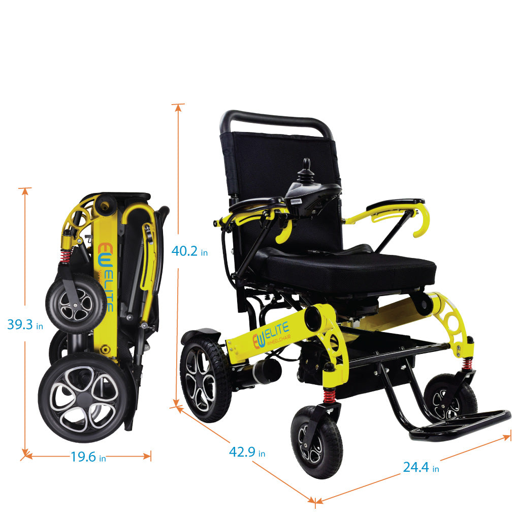 Foldable Electric Power Wheelchair, Large and Wide Seat, W5521 Yellow
