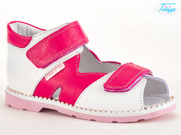 Leather Sandals for Babies & Kids - Orthopedic Insole Boys/Girls Summer Shoes Pink/White/Purple