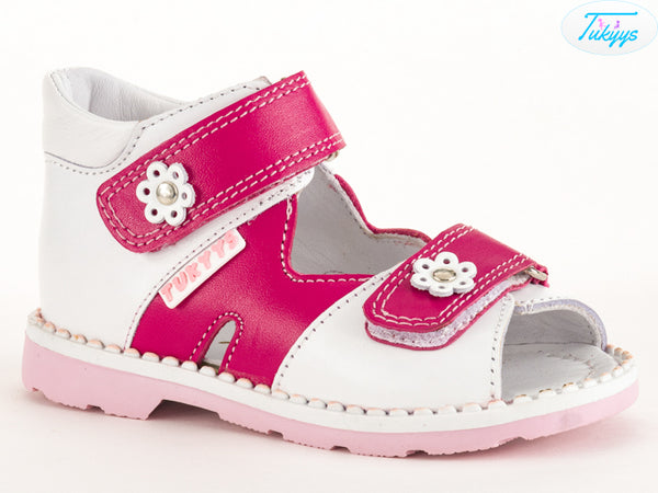Leather Open Toe Sandal for Girls with Orthopedic Insole - Flower Design