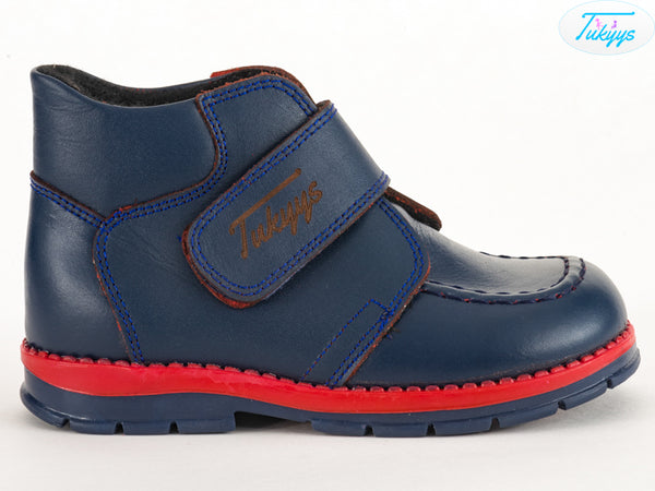 Dark Blue Leather Boots for Winter with Orthopedic Insole - Boys & Girls