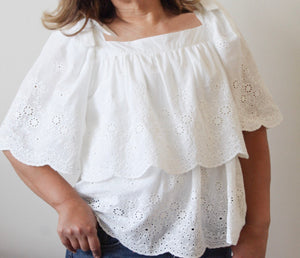 Off White Eyelet Blouse