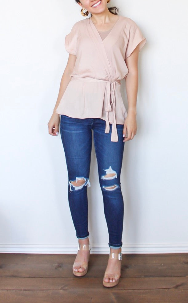 Champagne Knotted Blouse