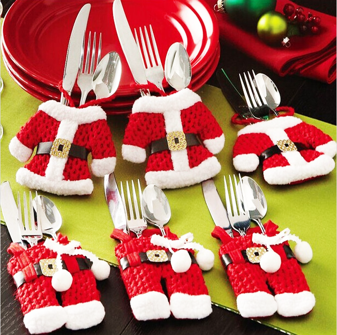 6Pcs New Year Chirstmas Tableware Holder Knife Fork Cutlery Set Skirt Pants 2019 Navidad Natal Christmas Decorations for Home