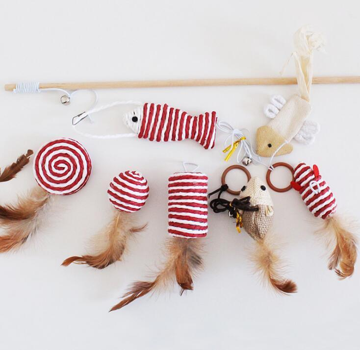 7Pcs Pet Cat Catchers Feather Toys with Wooden Pole
