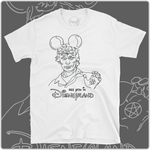 White cotton t-shirt with black print of serial killer Richard Ramirez with Disney Mickey Mouse Ears. Minimal line art design