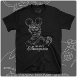 Black cotton t-shirt with white print of serial killer Richard Ramirez with Disney Mickey Mouse Ears. Minimal line art design