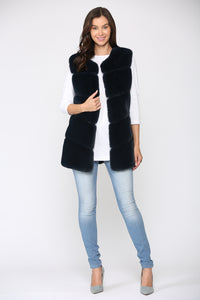 Joan Fur Vest - Navy