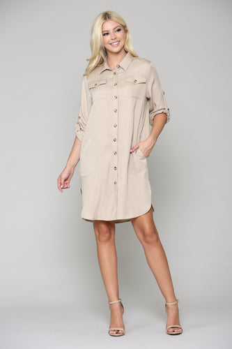 Taylor Shirt Tunic Dress - Taupe