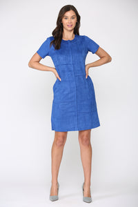 Adelyn Suede Dress- Cobalt