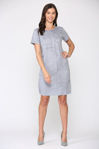 Adelyn Suede Dress - Pebble