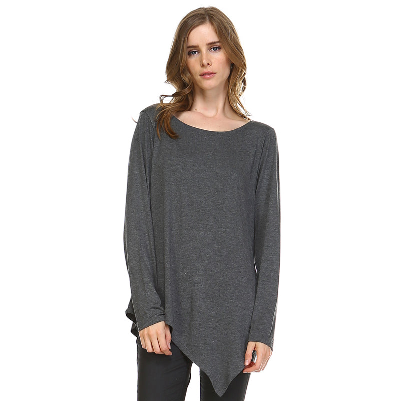 K7321C Kelly Crew Neck Top Charcoal