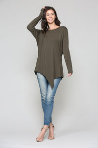 K7321C Kelly Crew Neck Top - Olive