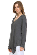Load image into Gallery viewer, K7321V Kelly V-Neck Top Charcoal