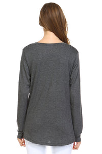 Kelly V Neck Top - Charcoal