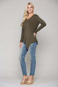K7321V Kelly V-Neck Top - Olive