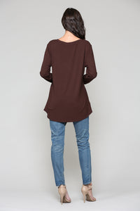 K7321V Kelly V-Neck Top - Chocolate