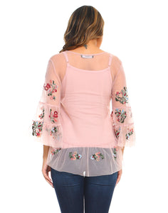 Lizzie Top With Tank - Rose