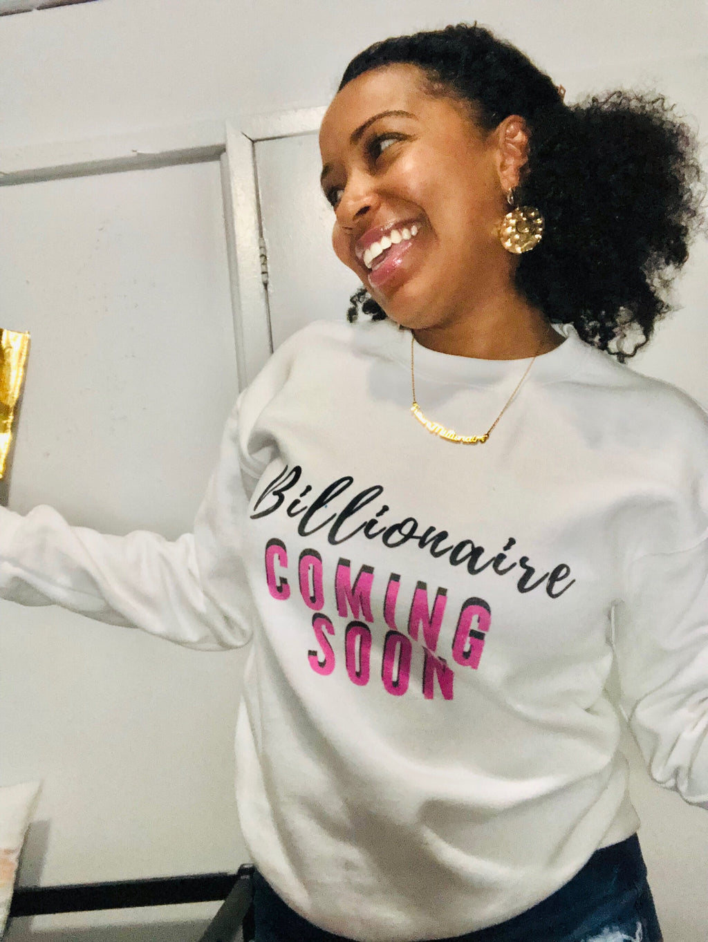 Pink Billionaire Crewneck - White Edition