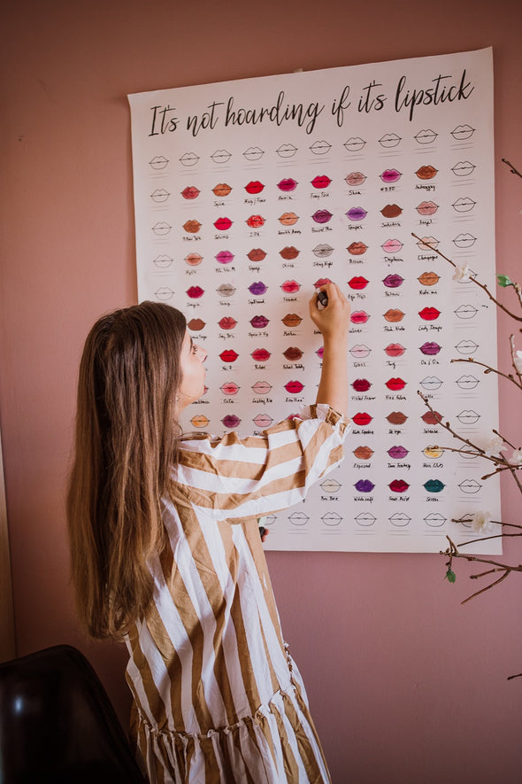 "XL Size with 120 Swatch Spots - The Swatch Chart in ""There's No Such Thing As Having Too Many Lipsticks"""