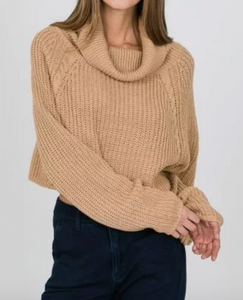 Camel Turtle Neck Cropped Sweater