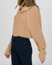 Load image into Gallery viewer, Camel Turtle Neck Cropped Sweater