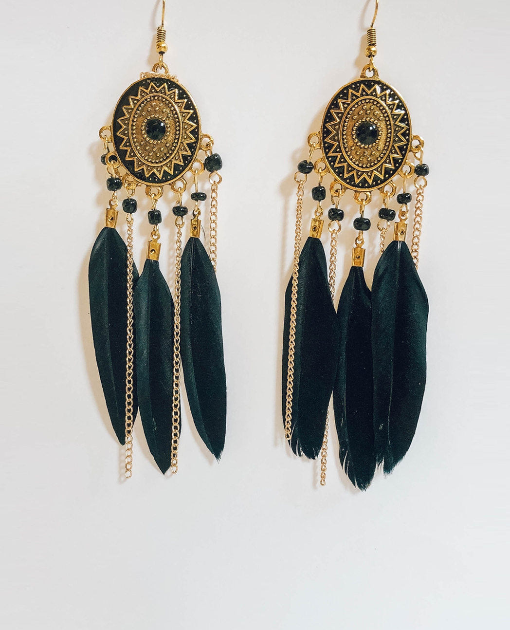 Black Feather Aztec Earrings