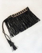 Load image into Gallery viewer, Black Genuine Leather Fringe belt