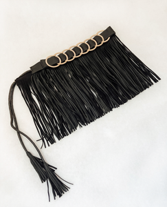 Black Genuine Leather Fringe belt