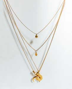 Crescent Gold Multi-Layered Necklace