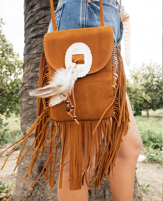 Native Suede Fringe Purse