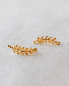 Gold Leaf Clip On Earrings