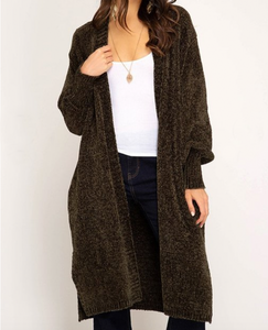 Olive Bubble Sleeve Chenille Cardigan