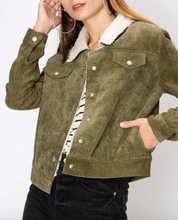 Load image into Gallery viewer, Olive Corduroy Sherpa Jacket