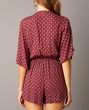 Load image into Gallery viewer, Burgundy Print Tie Top Romper