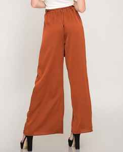 Satin Rust Wide Leg Pants
