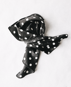 Black Polka Dot Hair Scarf