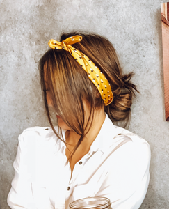 Yellow Printed Hair Scarf