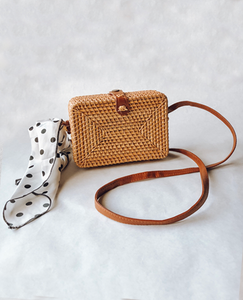 Rectangle Woven Bag with Polka Dot Scarf