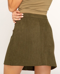 Stripe Olive Button Skirt