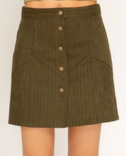 Load image into Gallery viewer, Stripe Olive Button Skirt