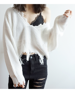 White Frayed Cropped Knit Sweater