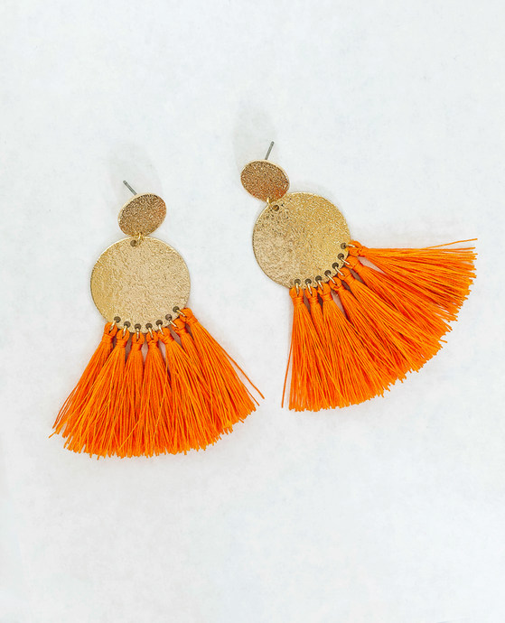 Orange Tassle and Gold Earring