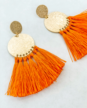 Load image into Gallery viewer, Orange Tassle and Gold Earring