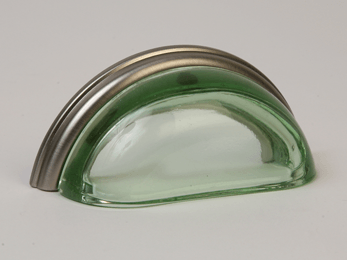 Transparent Green / Brushed Nickel Glass Bin Pull 3-3/4""