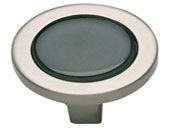 Spa Collection Brushed Nickel 1.25 In Black Round Knob