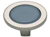 Spa Collection Brushed Nickel 1.25 In Blue Round Knob